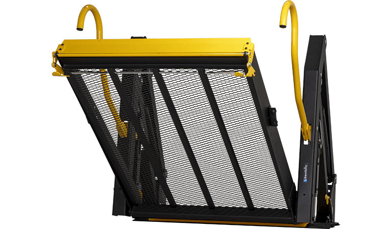 Our wheelchair lift installed in a Mercedes-Benz Sprinter for professional transportation.